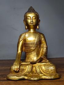老佛像纯铜鎏金释迦摩尼金佛摆件