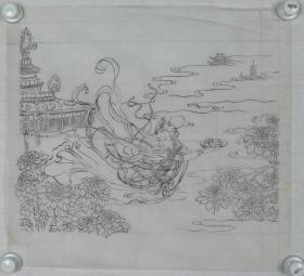 【谢-闲-鸥、谢-采-琴父女旧藏】画稿《仕女图》一幅(纸本软片,约2.1平尺)HXTX317006