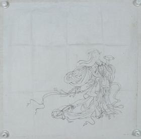 """【谢-闲-鸥、谢-采-琴父女旧藏】画稿""""舞蹈""""一幅(纸本软片,约4.2平尺)HXTX317023"""