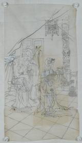 【谢-闲-鸥、谢-采-琴父女旧藏】画稿《投壶图》一幅(纸本软片,约4.8平尺)HXTX317024