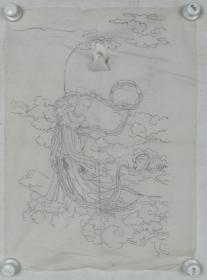 【谢-闲-鸥、谢-采-琴父女旧藏】画稿《嫦娥》一幅(纸本软片,约1.9平尺)HXTX317026
