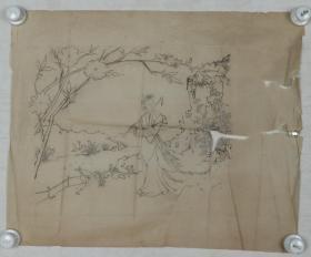 【谢-闲-鸥、谢-采-琴父女旧藏】画稿一幅(纸本软片,约2.0平尺)HXTX317028