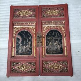 民国楠木雕刻多人物,绘画古代故事图画,正金水漆浓厚,老货稀少20081102