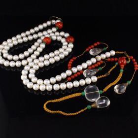 珍藏大清东珠108颗朝珠,配饰为水晶南红等多宝