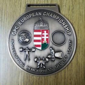 匈牙利 欧洲力量举重锦标赛 大奖牌 2019年 彩色徽章