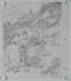 【谢-闲-鸥、谢-采-琴父女旧藏】画稿《仕女图》一幅(纸本软片,约1.8平尺)HXTX317004