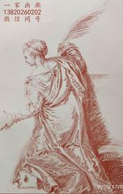 """1883年法国艺术系列石印红粉笔版画《圣凯瑟琳》— 意大利画家""""保罗·委罗内塞(Paul Veronese,1528~1588)""""作品""""让-安东尼·华托(Jean-Antoine Watteau1684 - 1721)""""  绘制  43x30cm"""
