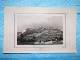 1838年钢版画,风景如画的法国之旅《法国北部公社-卡塞尔Cassel》 尺寸20.5* 12.5厘米