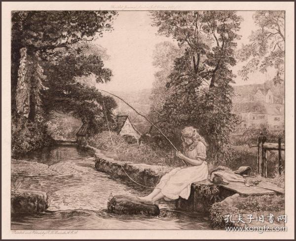 1897年原创蚀刻版画《磨坊主家的女儿》,32.5*24.2cm