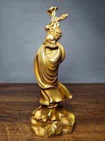 纯铜鎏金达摩祖师立像老佛像摆件