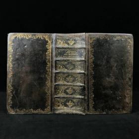 【德语】1776年 戈特弗里德·毕希纳《圣经辞典》 卷首配版画插图 原始小牛皮精装大32开