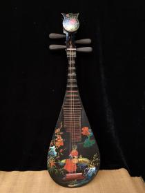 老木胎漆器漆绘描金人物花卉古乐器琵琶古琴