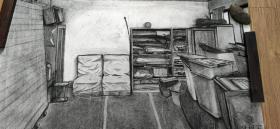 [藏品释放][油画版画专场]美院潘柯宇大幅素描,房间