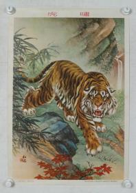 1955年 上海画片出版社出版 上海新华书店发行 熊松泉作《虎啸》宣传画一张(尺寸:77*53cm)HXTX191392