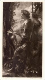 【拉斐尔前派】1899年蚀刻版画《骑士加拉哈德》,31.9×24cm