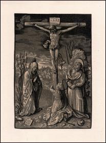 【版画史大珍·顶级高仿】1900年仿真复制:摇篮期半色调木刻版画《耶稣被钉十字架》,52.5×38.8cm