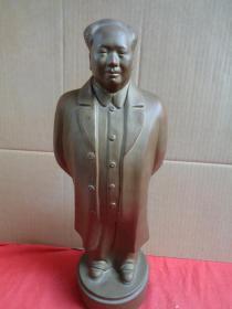 文革《毛主席》琉金水木雕像,高43cm,长11.5cm11.5cm,重5斤,品好如图。