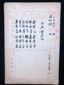 卢仲纪(广东新会人、民国岭南名医)五十年代毛笔中医处方一张HXTX318272