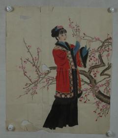 佚名画家 作 国画作品《折梅仕女图》一件(纸本软片,约4.5平尺)HXTX318266