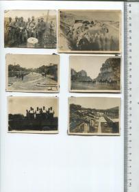 日军侵华史料:侵华日军老照片6张,有两张老建筑风格应该是在中国南方地区