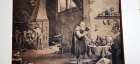 少见古董大幅英国铜版版画,后有出版图片和手写文字