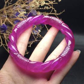 翡翠冰紫罗兰麻花手镯,尺寸约60*13mm 内径约57-60圈口 货号2020092801