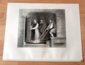 """1845年钢版画《艺术的传承:大卫·威尔基拜访罗斯柴尔德家族的牟利罗收藏室》(WILKIE IN SEARCH OF MURILLO)-- 牟利罗是17世纪西班牙画家,牟利罗曾荣获塞维利亚座堂主教授予的""""当代最高荣誉冠冕"""",并被尊称为""""西班牙的圣_母画家""""-- 威尔基在欧洲旅行时研究了委拉斯贵支和牟利罗的作品,继而转向历史题材 -- 选自《大卫·威尔基绘画作品集》 -- 版画纸张34*26.5厘米"""