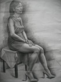 大幅素描/写实素描《穿高跟鞋的少女/少妇 》   尺寸:109X79厘米