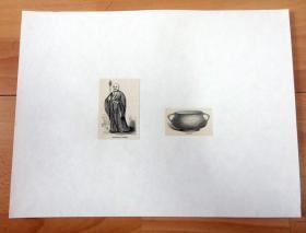 【中国宗教题材】1865年木刻版画《中国古代的佛教僧侣与佛教寺院的香炉》(BUDDHIST PRIEST;CENSER)-- 后背纸张30*22.5,版画纸张7*5厘米、5*3厘米