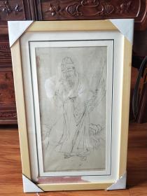 清末民国时期绘画非常精美典雅《古人看书,有眼无珠。。。??》古画新装框,云南大理同一个画家花了几十年画的一批画。。保真包老,品相都保存的很好!