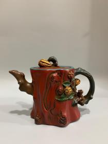 老茶壶漆器彩绘描金紫砂壶