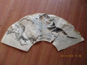工艺品字画, 扇面佚保,品好如图,不保真。