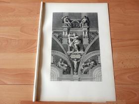 【米开朗基罗经典壁画】1878年感光制版铜版画《女先知》(DIE DELPHISCHE SIBYLLE)-- 出自16世纪伟大的绘画家、雕塑家和建筑师,文艺复兴三杰之一,米开朗基罗(Michel angelo),该作是为梵蒂冈西斯廷教堂绘制的传世巨作穹顶画《圣经·创世纪》组成部分,女先知西比尔是希腊神话中能预言未来的女巫 --德国斯图加特出版的《经典绘画作品集》--版画纸张45*32厘米,典藏精品