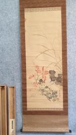 29410  (转店铺)  带原木盒的 绢本名家(酒井抱一)手绘秋草花卉   包老!