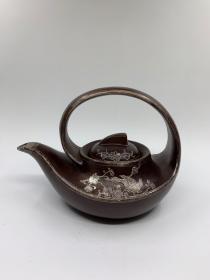 你老茶壶镶嵌喜上眉梢紫泥紫砂壶