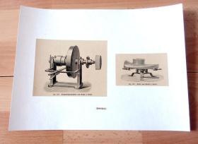 19世纪木刻版画《工业革命时代的机器发明:砂轮机与毡帽定型模具》(Hutmacherei:Filzhutbugelmaschine von Grahl & Hoehl;Recker von Grahl & Hoehl)-- 后背纸30*22.5厘米,版画纸张13*11厘米