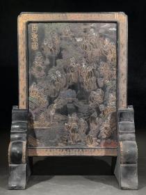 珍品收藏 徽州老墨百老图插屏