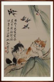 """【保证手绘】孙菊生,《猫趣图》,精品 。我们把此拍品标注""""手绘工艺品"""",不保真,有任何异议请先咨询。【此幅作品不包括外框】"""