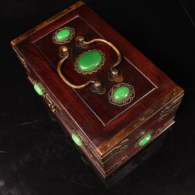 珍藏老红木镶嵌宝石盒子一个  重1551克