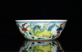 回流老瓷器斗彩兽纹碗