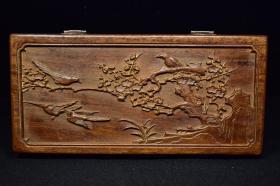 老花梨木雕刻喜上眉梢木盒木箱