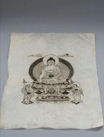 清代佛像木版画:高丽纸