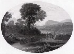 1830年钢版画《风景》,41*30cm