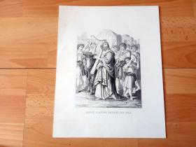 19世纪飞尘技法蚀刻+钢版雕刻《大卫王在方舟上载歌载舞》(DAVID PLAYING BEFORE THE ARK)-- 出自19世纪德国画家,约瑟夫·马丁·克朗海姆(Martin Kronheim)绘画,伦敦出版 -- 大卫率领以色列众人载歌载舞将尊贵的约柜(安放十诫石版的圣物)迎接进城,大卫在神前用琴、瑟作乐,极力跳舞歌唱 -- 版画纸张32*25厘米