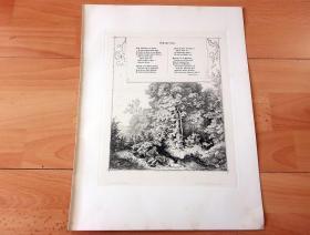 1884年铜版蚀刻版画《田园摇篮曲》(Schlaflied)-- 出自出自19世纪著名德国画家、插图画家和版画家,路德维希·里克特(Ludwig Richter,1803—1884)的原创蚀刻作品 -- 配有德国早期浪漫派作家、诗人,路德维希·蒂克(Ludwig Tieck,1773-1853)的抒情诗 -- 奥地利维也纳艺术画廊出版 -- 版画纸张38*29厘米