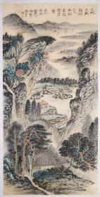 老一辈书画家    ,为张大千、郑午昌弟子 谢伯子 山水画