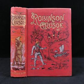约20世纪初 笛福《鲁滨逊漂流记》 数十幅彩色与黑白插图 漆布精装大32开 封面书脊烫金彩色压花