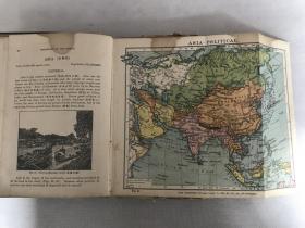 民国十一年商务版《英文世界地理》精装厚厚一册全。内收多幅彩色地图拉页及大量版画,其中两幅地图背面及内夹手写英文笔记,末尾有作者签名等多处笔迹,版本存世稀少