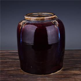 祭红釉四系罐 高25厘米宽21厘米