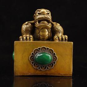 珍藏纯铜镶嵌翡翠印章